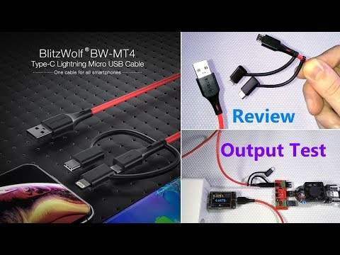 BlitzWolf BW-MT4 3-in-1 USB cable with Micro-USB, USB-C and Lightning Connectors