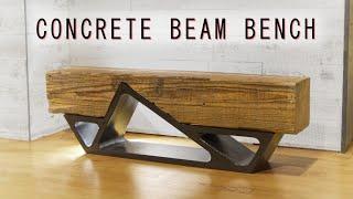 DIY Concrete & Reclaimed Beam Bench    how to build
