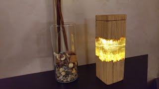 Abat-jour ricaricabile legno e resina fai da te.led