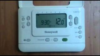 Honeywell CM707 Digital Programmable Room Thermostat user demonstration from AdvantageSW