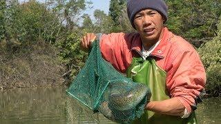 """小池抓到一条六斤重的""""鳝王"""",直接把它放生了,让它回归大自然"""
