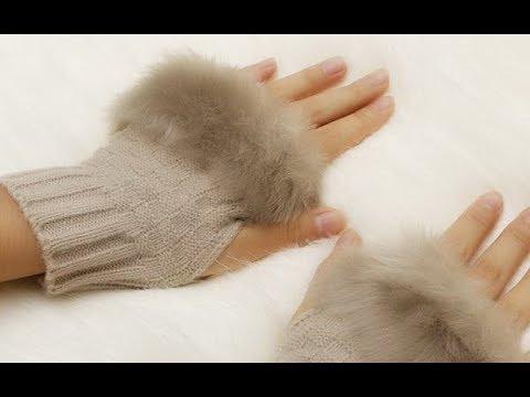 Перчатки без пальцев зимние вязанные с искусственным мехом