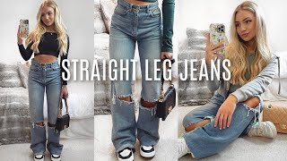 How To Style Straight Leg Jeans! / Y2K Dad Jeans Outfit Ideas 2021 Lookbook