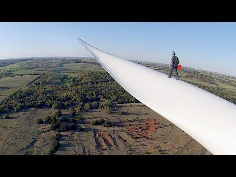 Sprung vom Windrad