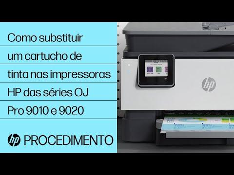 Como substituir um cartucho de tinta nas impressoras HP das séries OfficeJet Pro 9010 e 9020