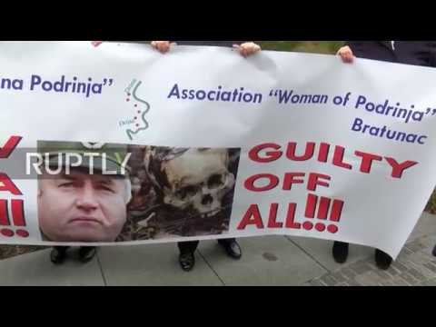 Netherlands: Serbian survivors and protesters rally outside court during Mladic trial