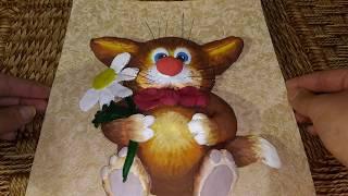 Кот с удочкой из соленого теста