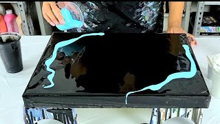 MUST SEE! ~ Acrylic Pour Painting With Black And SKY BLUE ~ Fluid Art ~ The Ice Cave ~ Minimalism