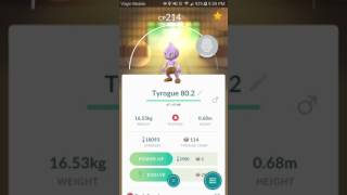 Hitmonlee  - (Pokémon) - Pokemon Go - Evolving Tyrogue (How to know what you'll get)