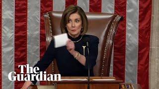 Nancy Pelosi silences applause after Trump impeachment vote
