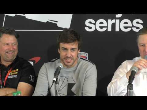 Fernando Alonso Press Conference at GP of Alabama IndyCar race - Part 1