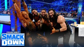 Roman Reigns gets revenge on King Corbin, dousing him with dog food   FRIDAY NIGHT SMACKDOWN