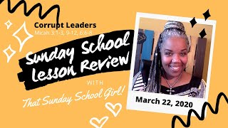 📝👥⚡️ Sunday School Lesson: Corrupt Leadership - March 22, 2020