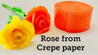 Crepe Paper Rose | Rose Flower Tutorial | Beautiful And Easy Rose Making | Paper Craft Ideas
