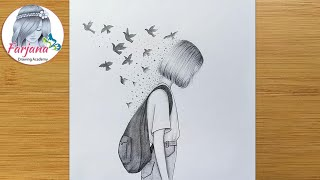 Creative Drawing - Pencil Sketch || How To Draw A Girl With School Bag || Kurşun Kalem çizimi