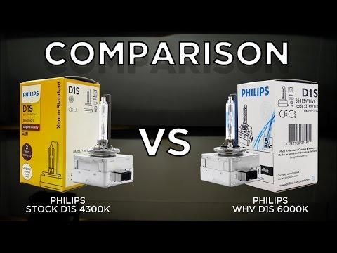 PHILIPS 4300K OEM D1S vs. 6000K White Vision (WHV) D1S Bulbs by using Valeo D1 Projector.