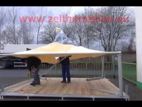 Aufbau Pagode 4mx4m Festzelt Partyzelt mit Boden www.zelthersteller.eu