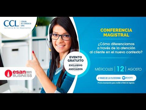 , title : 'Conferencia magistral: ¿Cómo diferenciarnos a través de la atención al cliente en el nuevo contexto?'