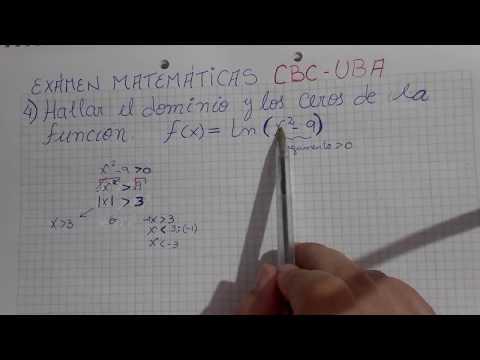 Dominio de una funcion logaritmica. Ejercicio parcial CBC-UBA
