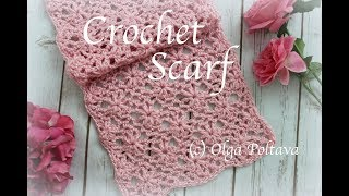 How To Crochet Lacy Scarf With Puff Stitch Flowers, Crochet Video Tutorial