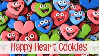 Decorated Happy Heart Cookies For Valentines Day