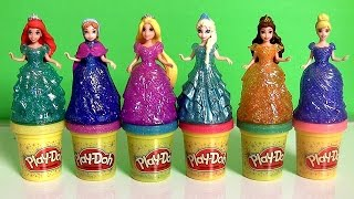 Play Doh Sparkle Princess Ariel Elsa Anna Disney Frozen MagiClip Glitter Glider Magic Clip Dolls