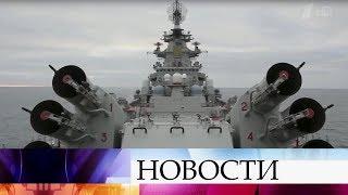 В учениях в Баренцевом море принял участие флагман Северного флота крейсер «Петр Великий».