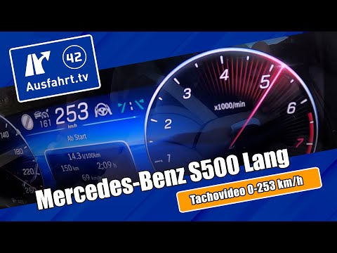 Tachovideo Mercedes-Benz S 500 4Matic lang (V223) 0-100 kmh kph 0-60 mph Beschleunigung Acceleration