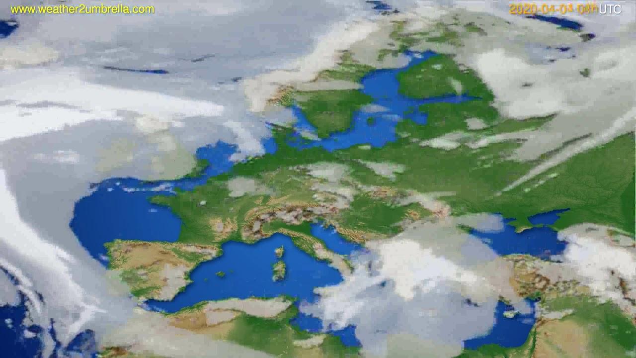 Cloud forecast Europe // modelrun: 12h UTC 2020-04-03