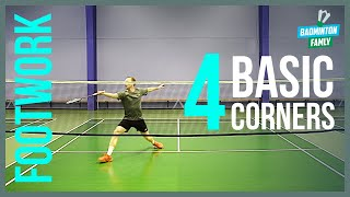 Basic FOOTWORK badminton - 4 corners