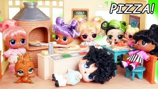 LOL Surprise Dolls Open Pizza Shop - Fake Vs Real #Hairgoals Series 5 Boys