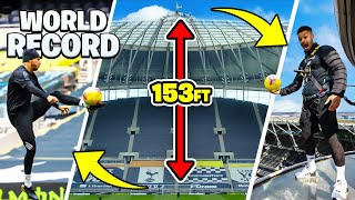 IMPOSSIBLE BALL CONTROL FROM TOTTENHAM HOTSPUR STADIUM 🤯🏟 | WORLD RECORD SKYWALK TOUCH