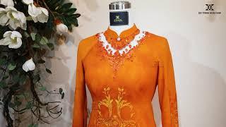 Áo dài cao cấp thêu hoa đính kết kim cương | Áo Dài Đỗ Trịnh Hoài Nam