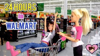Barbie Doll 24 HOUR Challenge Overnight In The SUPERMARKET Walmart