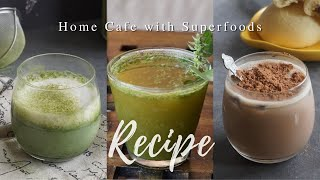 Home Cafe with Superfoods | Beverage Recipe | Moringa Latte Cacao Milo Moringa Infused Water