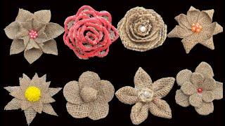 9 Easy Jute Burlap Flowers Making Tutorial | Jute Rope Flowers Making For Decoration
