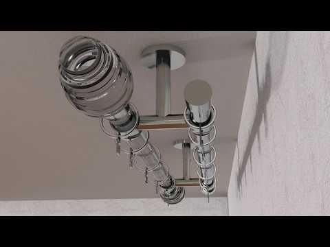 Montageanleitung, 2-lfg. Gardinenstange für Deckenbefestigung, mille