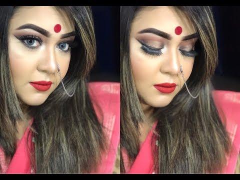 Durga Pooja and Navratri Festive Makeup Tutorial//Leona Rahman Lean❤️❤️