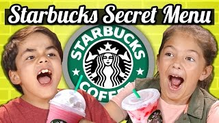 KIDS DRINK THE STARBUCKS SECRET MENU! (Butterbeer, Skittles, Pink Drink)   Kids Vs. Food