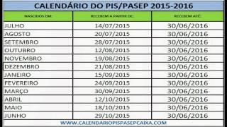 Calendário do PIS/PASEP 2015 - 2016