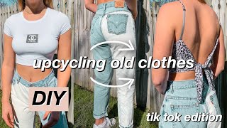Using Tik Tok DIY Trends To UPCYCLE My Old Clothes