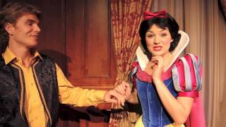 Snow White Kisses Tommy On The Forehead At Princess Fairytale Hall With Rapunzel