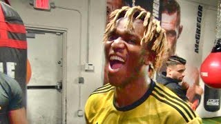 """KSI after knocking out his sparring partner: """"I'm gonna smack the sh*t out of him (Logan Paul)!!"""""""