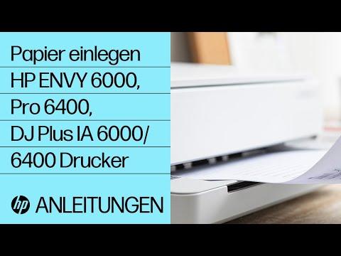 So legen Sie Papier in einen Drucker der Serie HP ENVY 6000/ENVY Pro 6400/DeskJet Plus Ink Advantage 6000/6400 ein