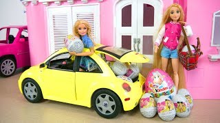 Gambar cover Barbie New Beetle Vehicle Car - Princess Surprise Eggs Mobil boneka Barbie Auto Überraschungsei