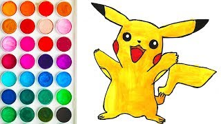 Drawings with Pikachu Pokemon for Child, Learn Colors for Children