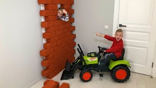 BABY разыграл родного БРАТА ...Unboxing And Assembling The POWER Wheel Ride on Tractor Buldozer!