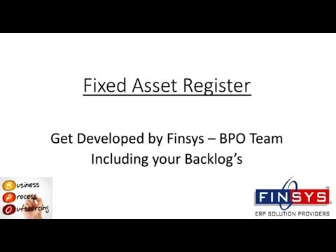 Fixed Assets Register Work ( Outsourcing it ) to Finsys ERP