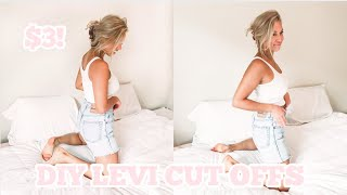 DIY LEVI CUT OFFS | HOW TO TURN THRIFTED LEVI JEANS INTO CUT OFF SHORTS