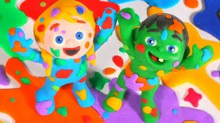 KIDS PLAYING WITH RAINBOW COLORS PAINT ❤ PLAY DOH CARTOONS FOR KIDS